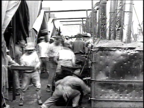 ws workers loading bread into large ovens / france - french bakery stock videos & royalty-free footage