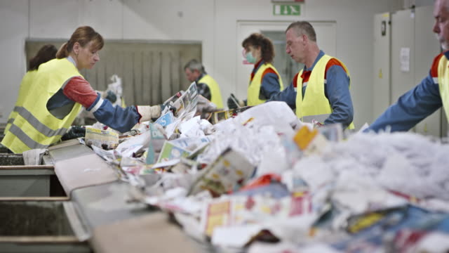 LD workers making last waste paper check on conveyor belt