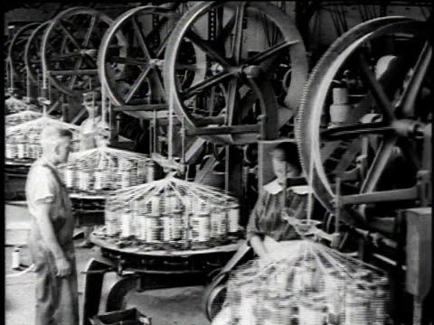 1921 ha workers monitoring spinning machine for spinning asbestos rope / waukegan, illinois, united states - 1920 stock videos & royalty-free footage