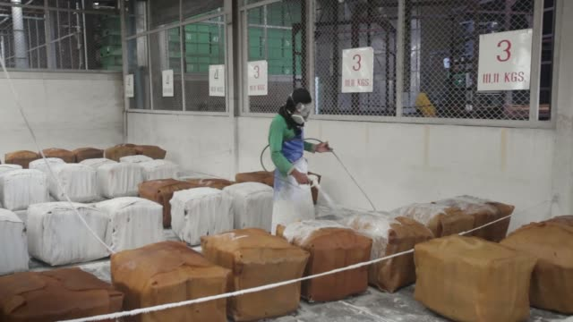 workers move bundles of smoked rubber sheets at the thai hua rubber pcl factory in samnuktong rayong province thailand on wednesday jan 29 pan... - calcium carbonate stock videos and b-roll footage
