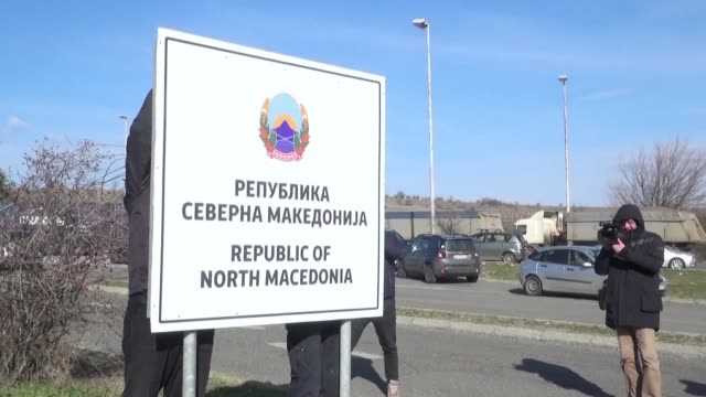 Workers on the border of the newly named Republic of North Macedonia begin changing the signs at border posts to reflect the country's change in name...
