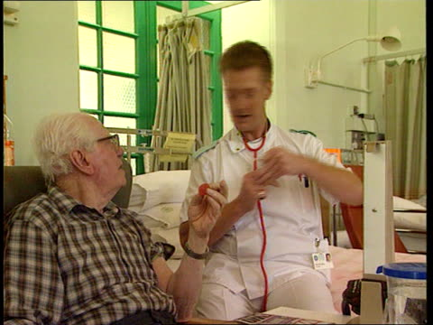 nhs workers pay settlement cf tape no longer available dorrell at rcn dinner c06079501 cms nurse along in men's surgical ward as chats to patients... - man and machine stock videos & royalty-free footage