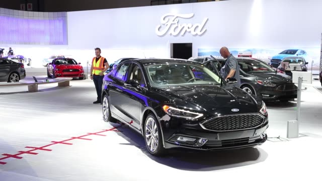 workers prepare for the automobility la ahead of the los angeles auto show in los angeles california us on monday nov 14 2016 - motor show stock videos and b-roll footage