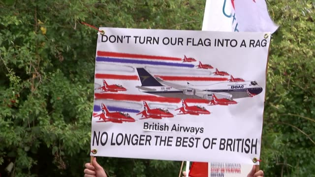 workers protest against job cuts outside company hq; england: london: uxbridge: ext gv staff with banner 'british airways / stop betraying britain'... - angle stock videos & royalty-free footage