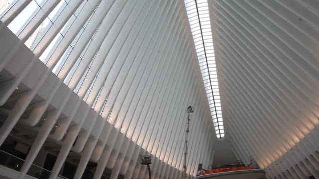 workers push to finish the new world trade center path train station designed by architect santiago calatrava in new york us on friday feb 19 2016... - 14 15 years stock videos & royalty-free footage