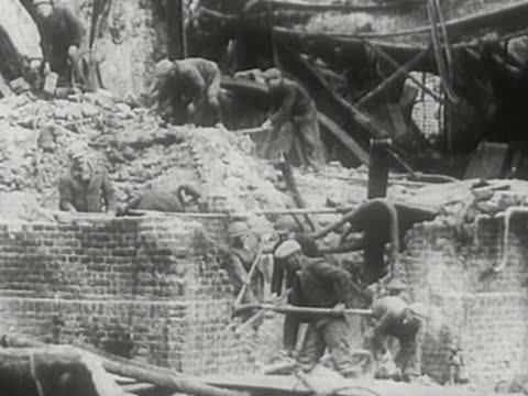 workers recovering infrastructure of boryslav coty after germansoviet invasion of poland - rebuilding stock videos & royalty-free footage