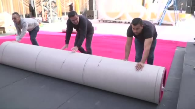 workers roll out the red carpet at the dolby theatre in hollywood ahead of sunday's 92nd academy awards - the dolby theatre stock videos & royalty-free footage