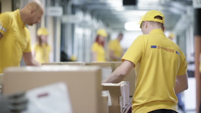 ds workers scanning and sorting packages on the conveyor belt - belt stock videos and b-roll footage