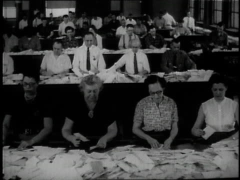 1957 ms workers sorting letters / united states - post structure stock videos & royalty-free footage