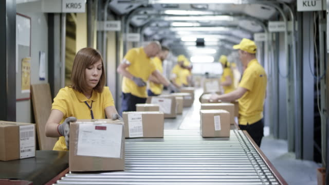 ds workers sorting packages on the conveyor belt - group of objects stock videos & royalty-free footage