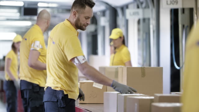 ds workers sorting parcels traveling on the conveyor belt - polo shirt stock videos & royalty-free footage