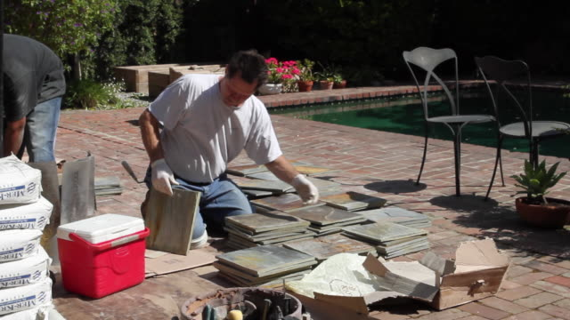 ws workers sorting slate tiles / north hollywood, california, usa - stack stock videos & royalty-free footage