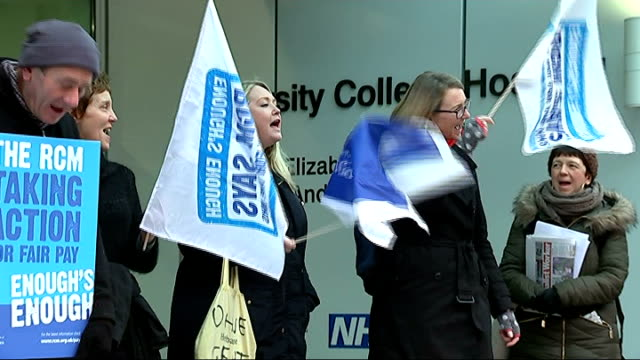 nhs workers strike over pay dispute england london ext various of striking nhs staff picketing university college hospital during industrial action... - strike industrial action stock videos & royalty-free footage