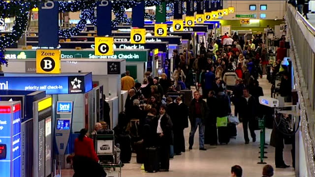 baa workers strikes planned for january int high angle shots of checkin area at airport adorned with christmas decorations - intricacy stock videos & royalty-free footage