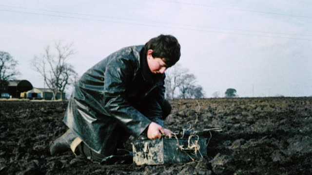 1982 MONTAGE Workers surveying land and technicians processing information on seismic computers / United Kingdom