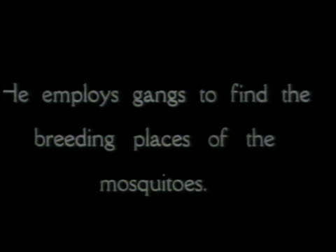 montage workers trying to eliminate mosquito breeding grounds along the panama canal narration appears on the screen / republic of panama - anno 1906 video stock e b–roll