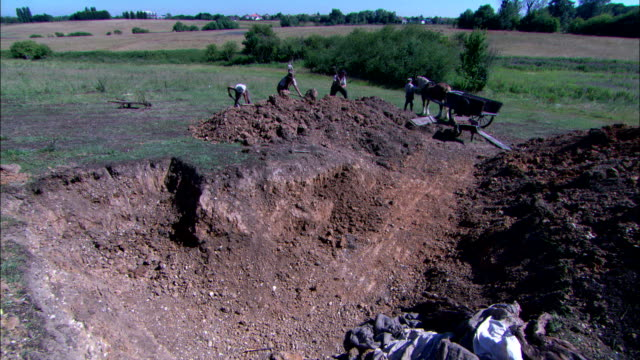 workers use pickaxes and shovels to expand an excavated area in a field. - 働く動物点の映像素材/bロール
