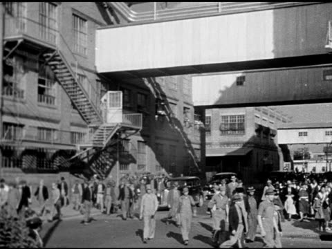 workers walking outside, 1930s cars moving bg. women working cigarette carton boxing assembly line. boxes of chesterfield cigarette cartons moving on... - home economics点の映像素材/bロール