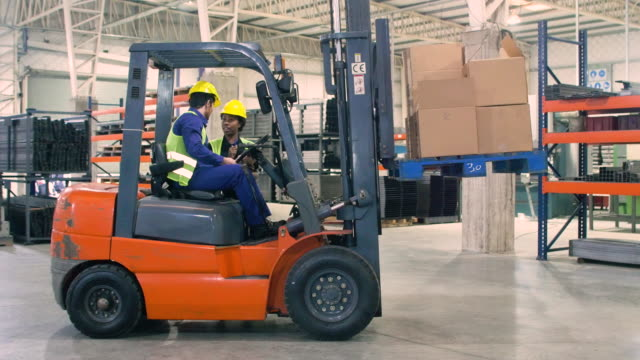 vídeos de stock, filmes e b-roll de dos trabalhadores que trabalham na indústria transformadora - caixa de papelão