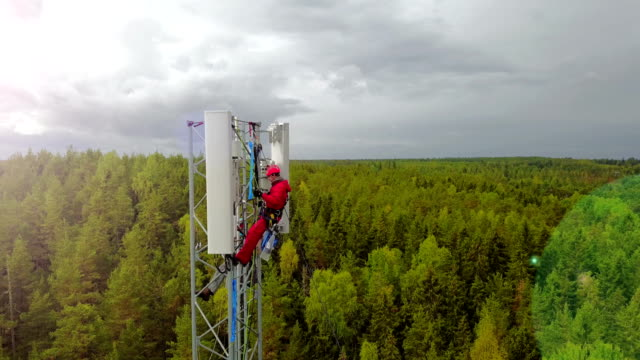 working at height - telecommunications equipment stock videos & royalty-free footage