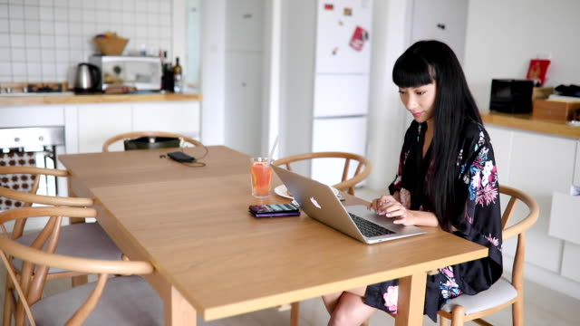 working at home during breakfast - floral pattern stock videos & royalty-free footage