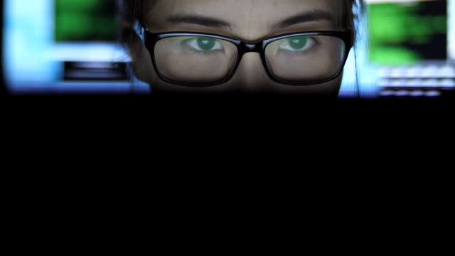 working at night reflection glasses - columnist stock videos & royalty-free footage