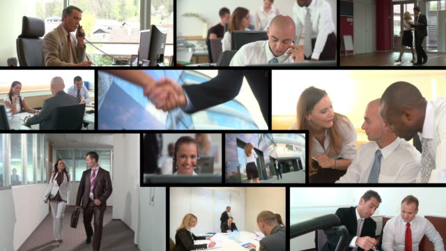 hd montage: working business people - composite image stock videos & royalty-free footage