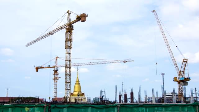 Un chantier de Construction au ciel bleu, Time-Lapse