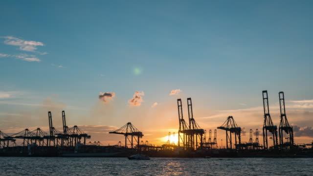 vídeos y material grabado en eventos de stock de barco de grúa y contenedor de trabajo en el puerto industrial de dusk, singapur, vídeo de lapso de tiempo de día a anochecer - grulla de papel