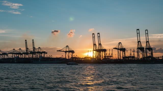 vídeos y material grabado en eventos de stock de barco de grúa y contenedor de trabajo en el puerto industrial al atardecer, singapur, vídeo de día a anochecer - grulla de papel