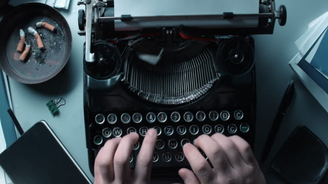 ld working fast on an old typewriter - unfashionable stock videos & royalty-free footage