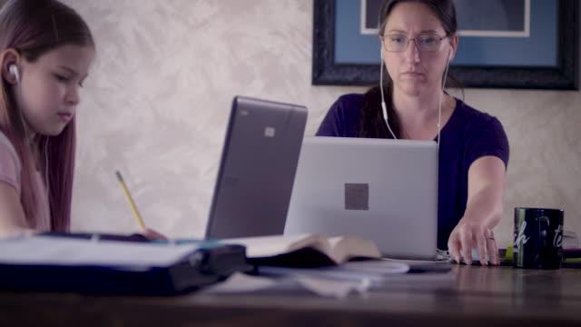 vídeos y material grabado en eventos de stock de working from home with kids - salón de clase
