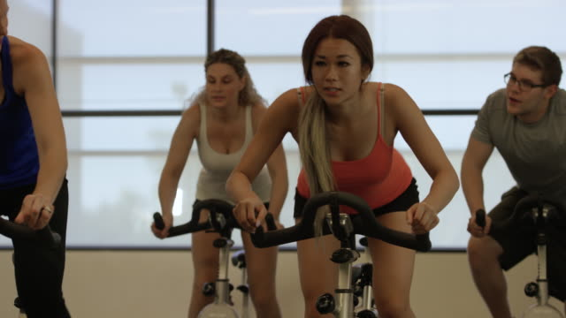Working Hard at Indoor Cycling