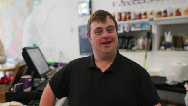 working in a cafe - persons with disabilities stock videos & royalty-free footage