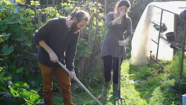working in garden - 干草用熊手点の映像素材/bロール