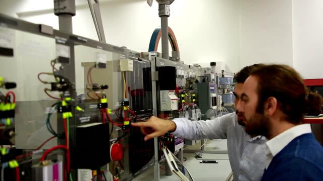 Working in laboratory of renewable energy.