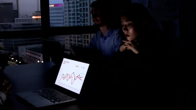 working late : business people using laptop at meeting in office at night full hd video format. - full hd format stock videos & royalty-free footage