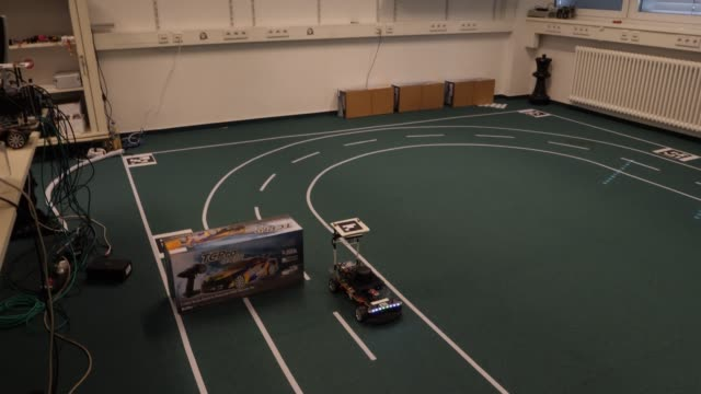 A working model of a driverless vehicle runs on a test track at the Dahlem Center for Machine Learning and Robotics at the Freie Universität on June...