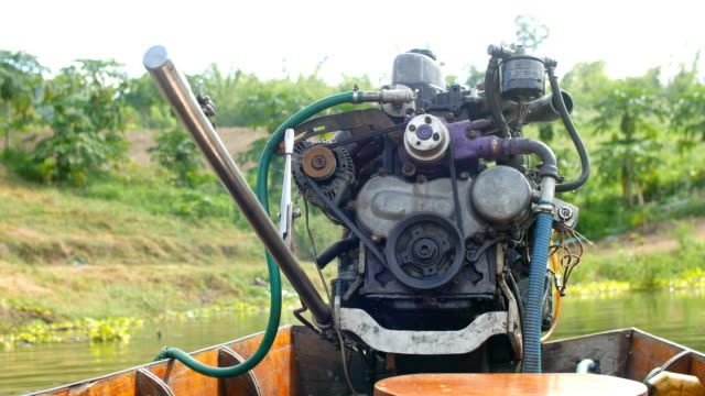 working modified dissel engine on wood boat - diesel fuel stock videos and b-roll footage