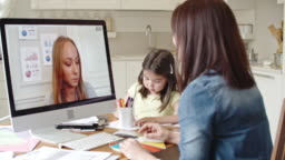 Working mother discussing contract via video call