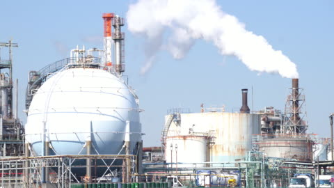 working of chemical factory plant with smoke from chimney tower - environmental issues stock videos & royalty-free footage