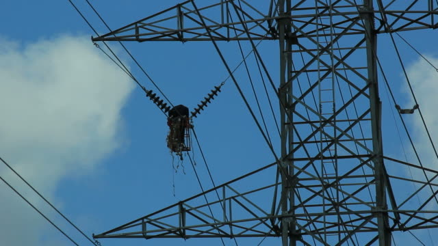 Working on power line.