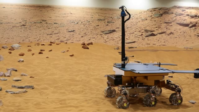 a working prototype of the exomars rover at the airbus defense space facility on february 7 2019 in stevenage england the craft has been named after... - stevenage stock videos and b-roll footage