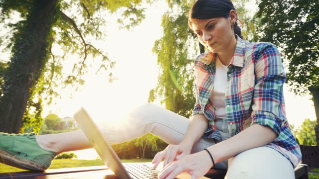 working remotely in the park. - isolamento video stock e b–roll
