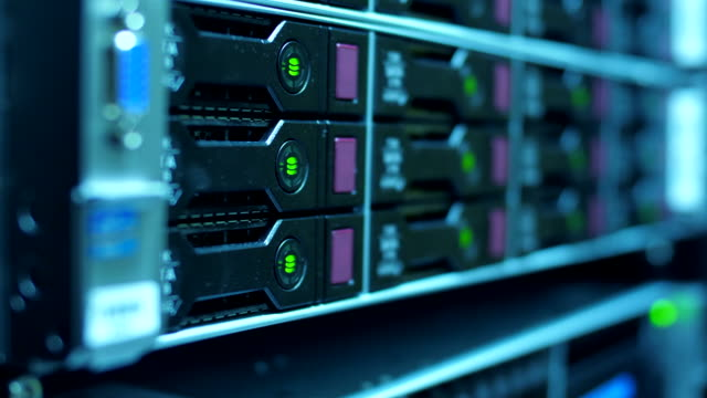 working servers close-up in data center - network server stock videos & royalty-free footage