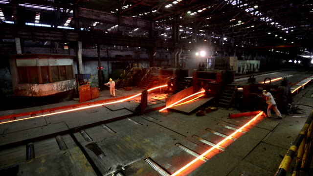 working steel rolling factory interior, real time. - steel stock videos & royalty-free footage