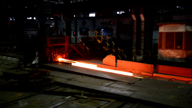 working steel rolling factory interior, real time.