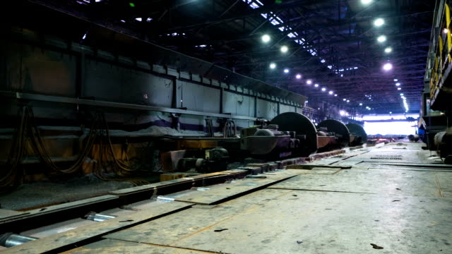 working steel rolling factory interior, time lapse. - steel mill stock videos & royalty-free footage