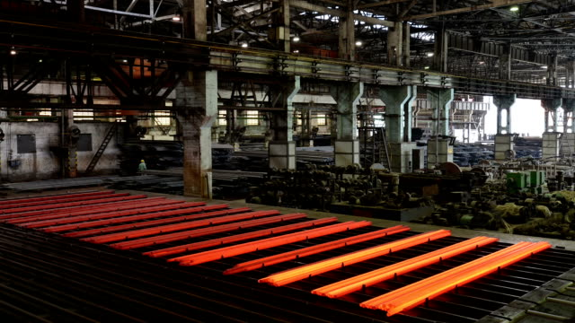 working steel rolling factory interior, time lapse. - rolling stock videos & royalty-free footage
