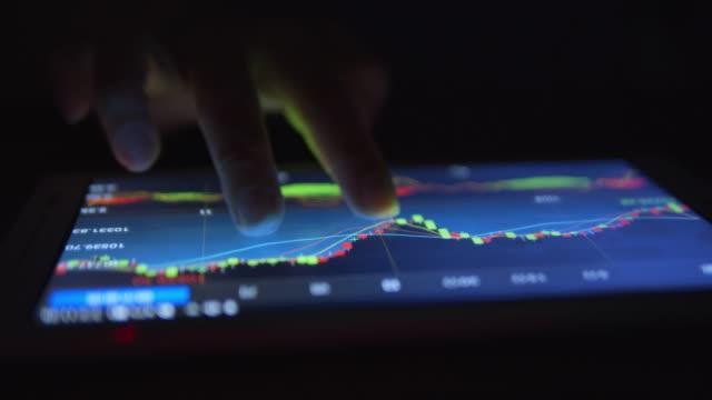 vídeos de stock e filmes b-roll de working tables data on tablet - reportagem segmento editado
